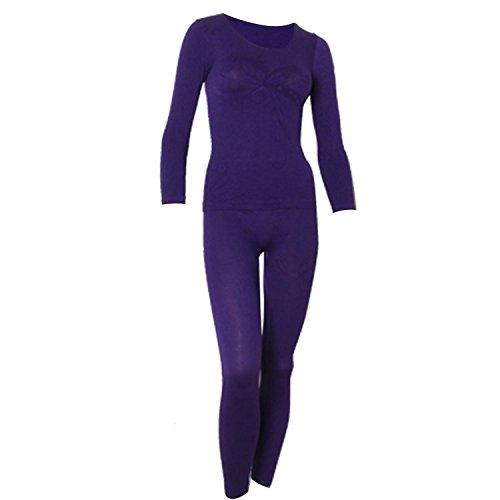Cuello redondo de primer plano de oso-con montaje para térmico en forma de luz de costura para ropa interior juego de bolsas para recuerdos pantalones de deporte para mujer morado XS
