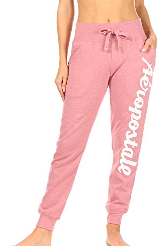 Aeropostale Women's Cotton Polyester Jogger with Pockets, Pink, Small