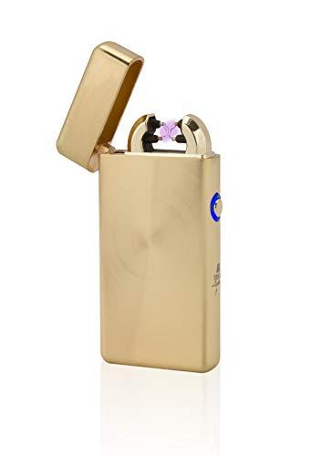 TESLA Lighter TESLA Lighter T08 Lichtbogen Feuerzeug, Plasma Double-Arc, elektronisch wiederaufladbar, aufladbar mit Strom per USB, ohne Gas und Benzin, mit Ladekabel, in edler Geschenkverpackung, Gold gebürstet Gold Gebürstet