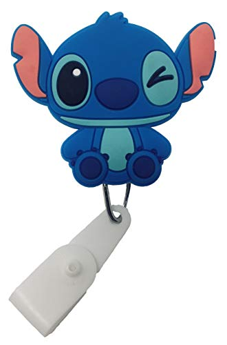 Cartoon Retractable Badge Reel - Holder for ID and Name Tag with Belt Clip, Improved Reel & Strap (Stitch)