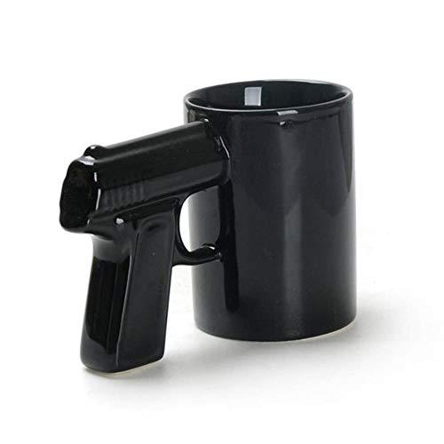 Tazas Mug Taza Tazas Y Tazas De Café Con Agarre De Pistola De 1 Pieza Taza De Pistola Divertida Taza De Té Con Leche Taza De Café De Cerámica Para Oficina Creativa Vasos, Negro