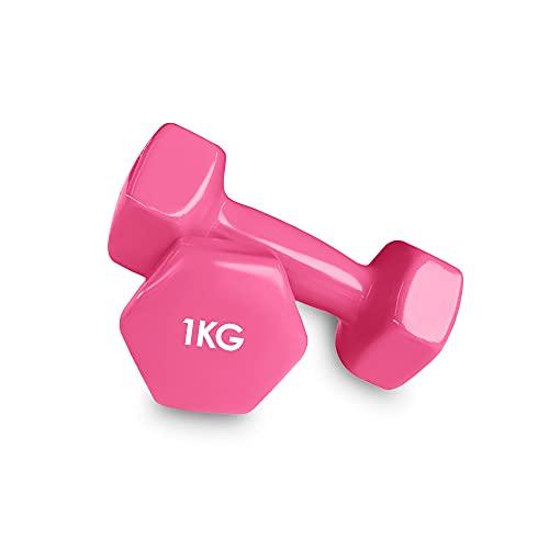 Focus Sport 2er Set Vinyl Hanteln Paar Kurzhanteln ideal für Gymnastik Aerobic Pilates Hantelset Gewichte 1kg (Pink)