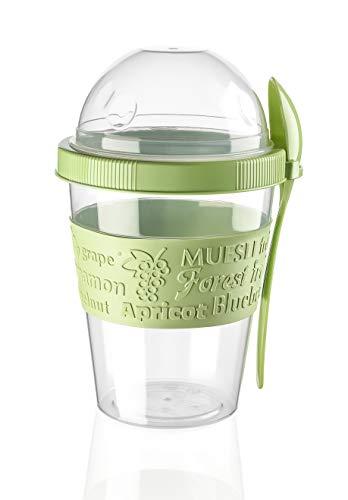 BEFA Müsli to Go | BPA Frei | Müslibecher | Deckel inkl Löffel mit Halterung | Joghurtbehälter | Obstbehälter | Salatbecher | Reisebecher | Lunchbox | Fruit (Grün)