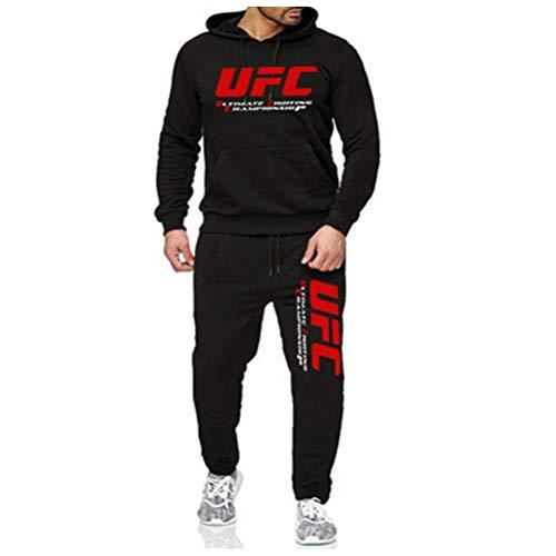 Sudadera con Capucha Impresa Traje De Ropa Deportiva Negra, con Capucha Y Pantalones Impresos De UFC para Adultos Al Aire Libre, Sin Cremallera, 3 Estilos (Color : Style-1, Size : X-Large)