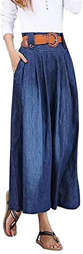 Laisla fashion Larga De Mujer Falda De Mezclilla De Clásico Moda Apenada Bolsillos Faldas Plisadas Resorte del Otoño De Mujer Festiva Casual Denim Falda Maxi (Color : 1, One Size : XXL)