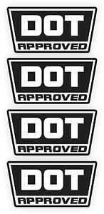 DOT D O T Approved Motorcycle Helmet Stickers Decals Labels   Set of 4