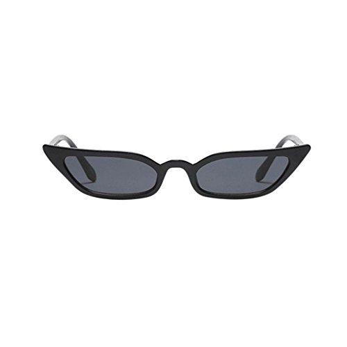 Amcool Damen Vintage Katzenaugen Sonnenbrille Retro Kleine Rahmen UV400 Brillen (Schwarz)