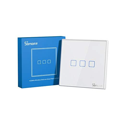 SONOFF T2EU3C-RF Botón Pulsador, Panel de Pared Tipo 86 Control Remoto Inalámbrico RF Sticky 433MHz, Controllo Bidirezionale, no Requiere Cableado, se Necesita Batería (no Incluida), 3 Gang.