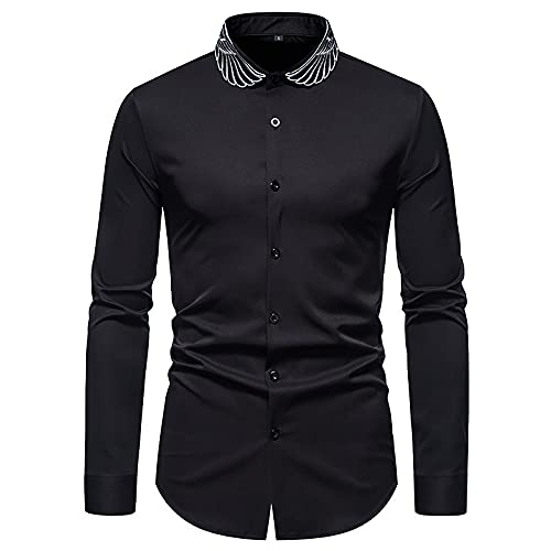 Elegante Camisa De Vestir De Vaquero Occidental para Hombre Bordado Slim Fit Camisas Casuales De Manga Larga...