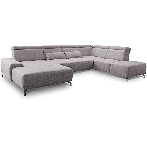 CAVADORE Wohnlandschaft Gizmo / U-Form-Sofa mit Sitztiefenverstellung, Kopfteilfunktion, XL-Longchair und Ottomane / 337 x 82 x 230 / Recycling-Strukturstoff, hellgrau