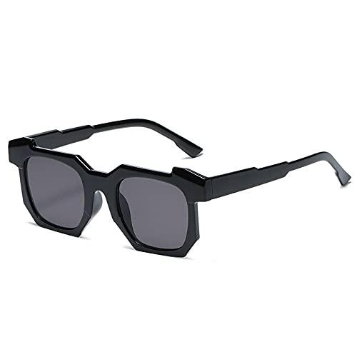 HAOMAO Gafas antirreflectantes Uv400 de gran tamaño Gafas de sol cuadradas con gradiente de espejo para mujeres y hombres Negro