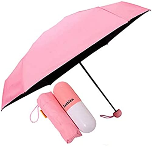 Ultra Lights and Small Mini Umbrella with Cute Capsule Case 5 Folding Compact Pocket Umbrella Bags Wallets and Luggage Especially for Kids