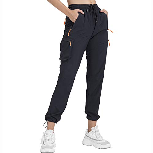 Lightweight Hiking Pants for Women High Waisted Camo Cargo Water Resistant Outdoor Casual Pants with Zipper Pockets UPF 50