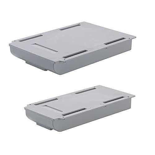 Caja de almacenamiento oculta autoadhesiva para debajo de la mesa, organizador de escritorio, para oficina, hogar, escuela, almacenamiento de papelería, color gris, L (15 cm) + S (11 cm)