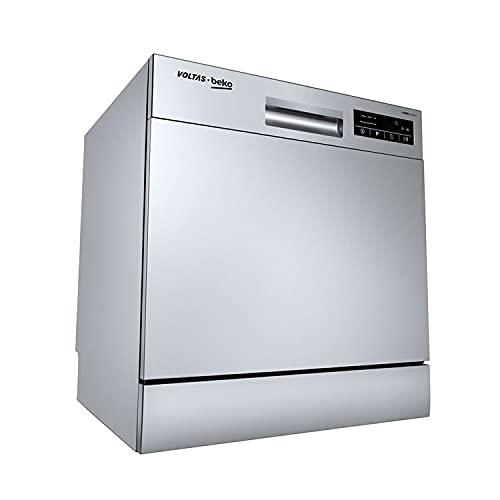 Voltas Beko 8 Place Table Top Dishwasher, DT8S, Silver, Inbuilt Heater, Adjustable Upper Shelf