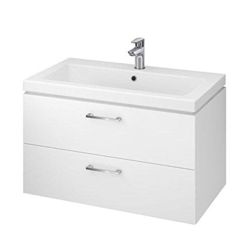 VBChome Badmöbel Waschbecken mit Unterschrank 80cm Waschtisch 2-Schubladen Weiß Lara