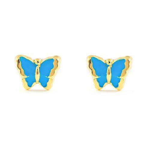 Pendientes Bebe o Niña Oro Mariposa Esmaltada Azul