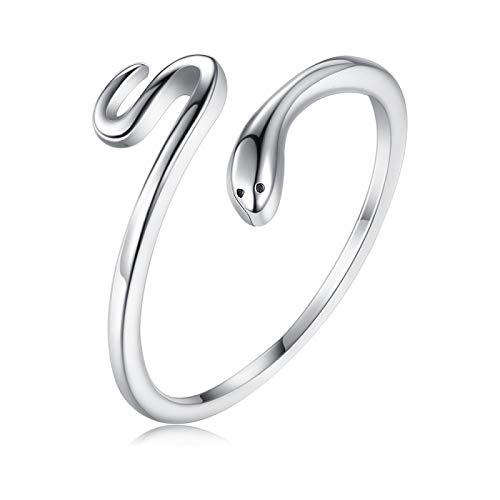Rings Women Real 925 Sterling Silver Simple Open Adjustable Rings Snake Black Cocktail Finger Ring Silver Bride Accessories Gift