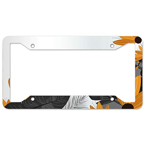 WOSITON Floral Pattern License Plate Frame 4 Pieces Design License Plate Frame With 4Holes Fite For Bar white 16x31cm