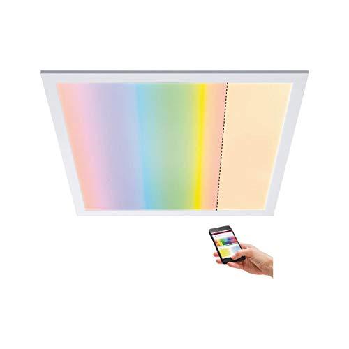 Paulmann 79809 LED Panel Amaris 595x295mm RGBW Smart Home Zigbee eckig incl. 1x35 Watt dimmbar Deckenleuchte Weiß matt Deckenlampe Metall Wohnzimmerlampe 2700 K