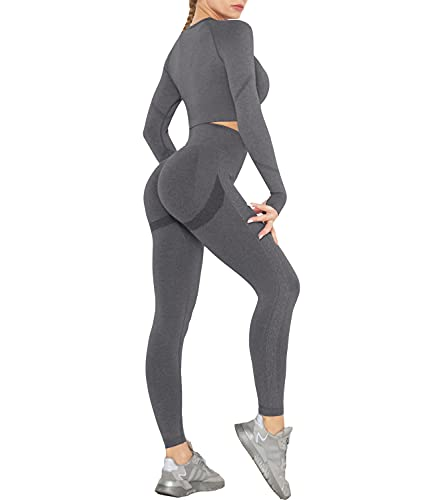 DUROFIT Conjuntos Deportivos para Mujer Leggins y Crop Top Deporte Sport Set Conjunto de Ropa Deportiva Legging Mallas de Yoga Fitness Cintura Alta Camiseta de Manga Larga Push Up Leggins Gris M