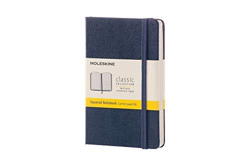 Moleskine Notebook Classic Pagina a Quadretti, Taccuino Copertina Rigida e Chiusura ad Elastico, Colore Blu Zaffiro, Dimensione Pocket 9 x 14 cm, 192 Pagine