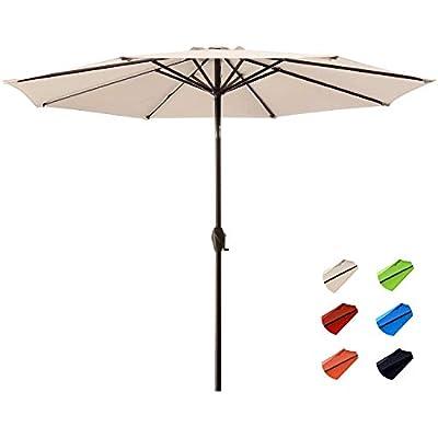 KITADIN Patio Umbrella - 11Ft Outdoor Market Table Umbrellas with Push Button Tilt and Crank Lift,8 Sturdy Square Ribs (11 Ft,Orange)