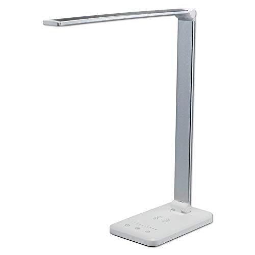 LED Schreibtischlampe silber weiß schwenkbar drehbar mit Touch – Tisch-Leuchte dimmbar mit Farbstufen-Wechsel fürs Büro und Schreibtisch – mit USB-Anschluss Leselampe Touchlampe Büroleuchte Bürolampe