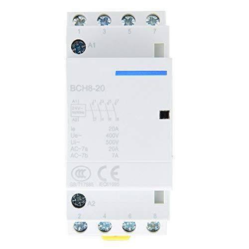 4P 4NO 20A 24V 220V / 230V 50 / 60Hz Contactor de CA Doméstico, Material de Aslamiento de Seguridad de Montaje en Riel DIN(24V)