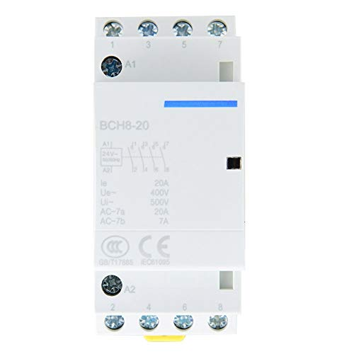 AC Contactor 4P 4NO Carril DIN 50 / 60Hz Contactor Hogar 20A 24V 220V / 230V(24V)