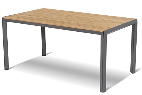 HARTMAN stilvoller Aruba Esstisch, hochwertiges Aluminiumgestell in xerix, hellbraune zertifizierte FSC-Teakholz Tischplatte, ca. 160 x 90 x 74,5 cm, Gartentisch Holztisch, wetterfest