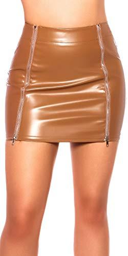 Koucla Falda con aspecto de piel sintética con cremallera