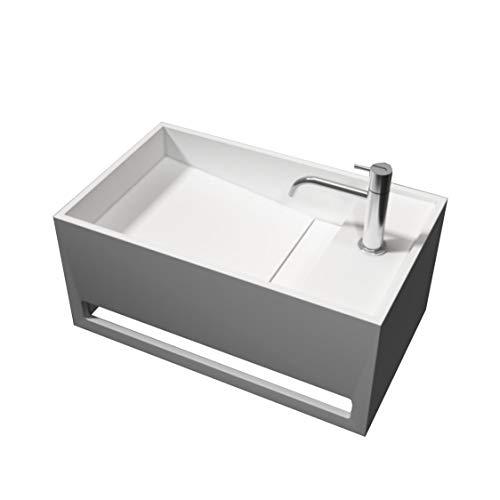 Bernstein Badshop Waschbecken Wandwaschbecken PB2078 mit integriertem Handtuchhalter aus Mineralguss Solid Stone