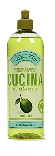 Fruits & Passion [Cucina] - Lime Zest and Cypress Tree Concentrated Dish Soap Detergent, (16.9 fl oz) - Gentle, Vegan Kitchen Liquid Dish Wash