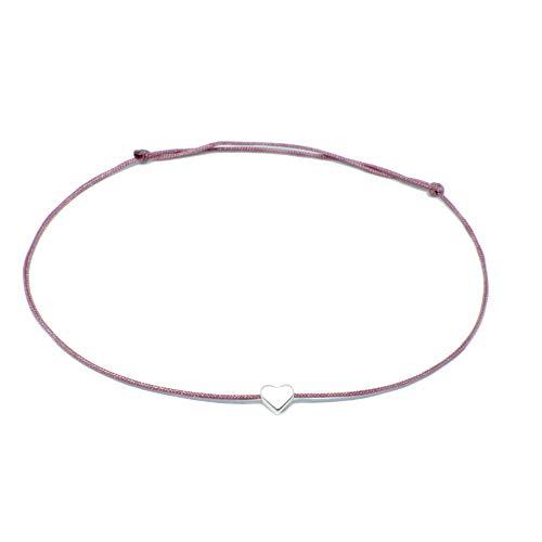 Herz Fusskettchen in Silber - Band in Altrosa Rosa mit kleinem silbernen Herzchen - größenverstellbar