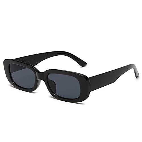 Libartly Gafas De Sol Cuadradas De Estilo Europeo Y Americano Rectángulo De Viaje Gafas De Sol De Alta Definición Retro Vintage Pequeñas - Marco Negro Negro Gris Rebanadas 144X145X40Mm