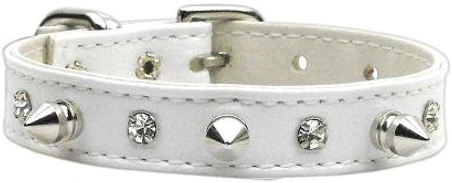 Dog   Cat   Pet Charms  Just the Basics  Crystal and Spike Collars White 12