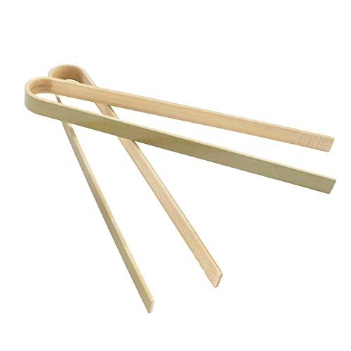BambooMN 6.3 Mini Bamboo Disposable Tongs - Toast Tongs - 10pcs