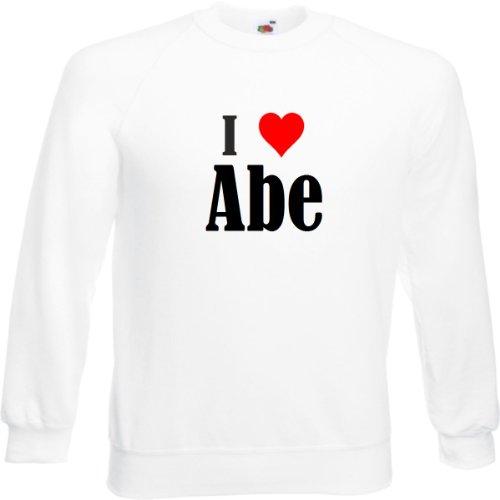 Reifen-Markt Sweatshirt I Love Abe Größe 2XL Farbe Weiss Druck Schwarz