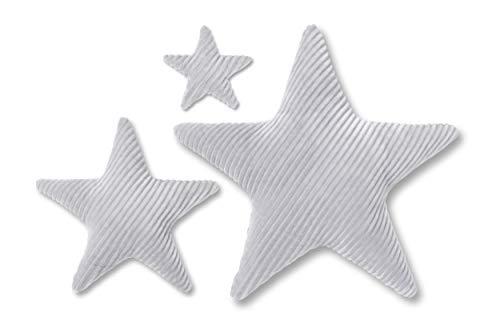 Amilian® Set 3 x Kissen Stern Plüsch Grau Dekokissen Kuschlig Flauschig ca. 80cm/60 cm/ 28cm SET1