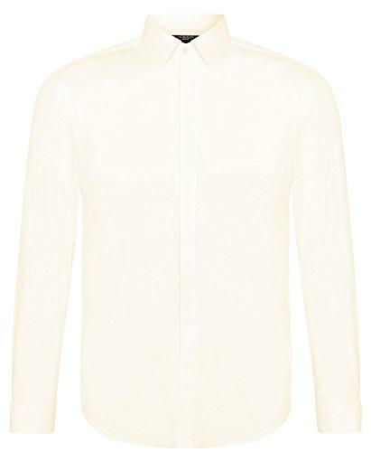CRIXUS Herren Hemd Slim Fit - Extra lange Ärmel - Bügelleicht Weiß Creme Ivory (S - Kragenweite: 37/38, Creme Champagne)