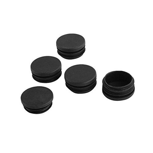 sourcing map Pfostenkappe Lamellenstopfen Kunststoffkappen für runde Rohre, 40 mm Durchmesser Schwarz 5 Stück