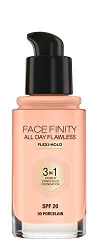 Max Factor Facefinity All Day Flawless 3 in 1 Foundation in Porcelain 30 – Primer, Concealer & Foundation in einem – Für ein perfekt mattiertes Finish – 1 x 30 ml