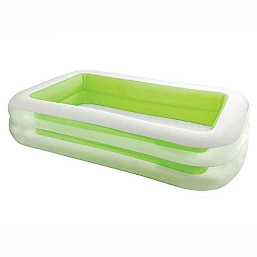 Rindasr achtertuin, draagbaar opvouwbaar zwembad, rechthoekig, groen, stabiele thermisch koolstof-hard polymeer pvc, met elektrische pomp, kinder-zomer-entertainment kinderbadje