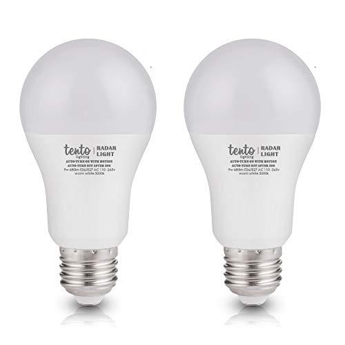 LED-Leuchtmittel mit Bewegungssensor, 9 W, entspricht 60 W, eingebauter Radarsensor, Tageslichtweiß, 6000 K, 2 Stück