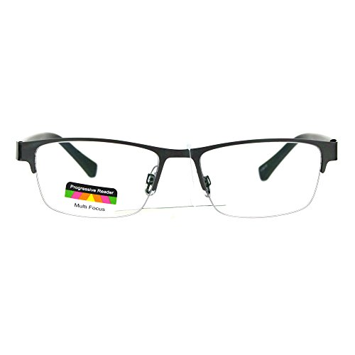 Mens Half Metal Rim Rectangular Multi 3 Power Focus Progressive Reading Glasses Gunmetal +1.5