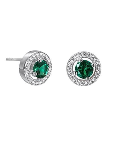 Pendientes Vidal & Vidal colección Signature circonitas plata acabada en platino y gema esmeralda