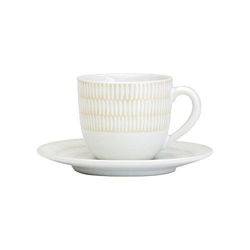 Avet Spain Juego de Tazas para Café con Plato, Gres, Blanco, 6.8x6.83x6 cm, 6 Unidades