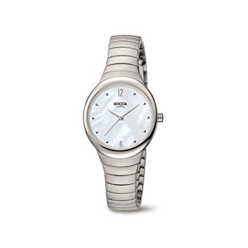 Boccia Women's Quartz Watch with Titanium Strap, Silver, 12 (Model: 3307-01)