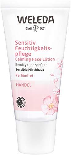 WELEDA Mandel Wohltuende Feuchtigkeitspflege, sanfte und unparfümierte Naturkosmetik Feuchtigkeitscreme für sensible Mischhaut im Gesicht und am Hals für einen gesunden Teint (1 x 30 ml)